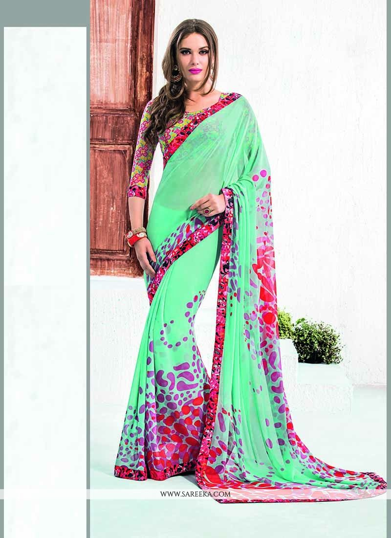Patch Border Work Multi Colour Georgette Casual Saree
