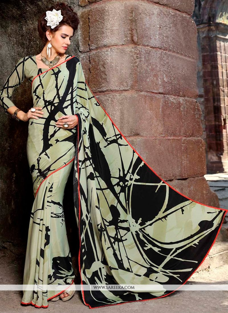 Print Work Multi Colour Faux Crepe Casual Saree