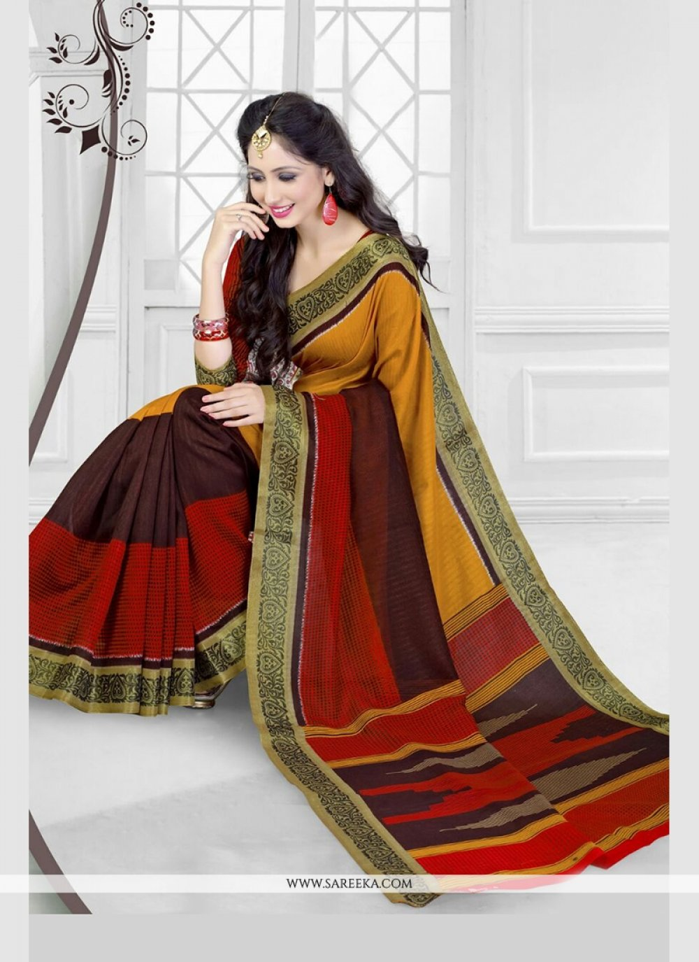 Multi Colour Patch Border Work Silk Printed Saree
