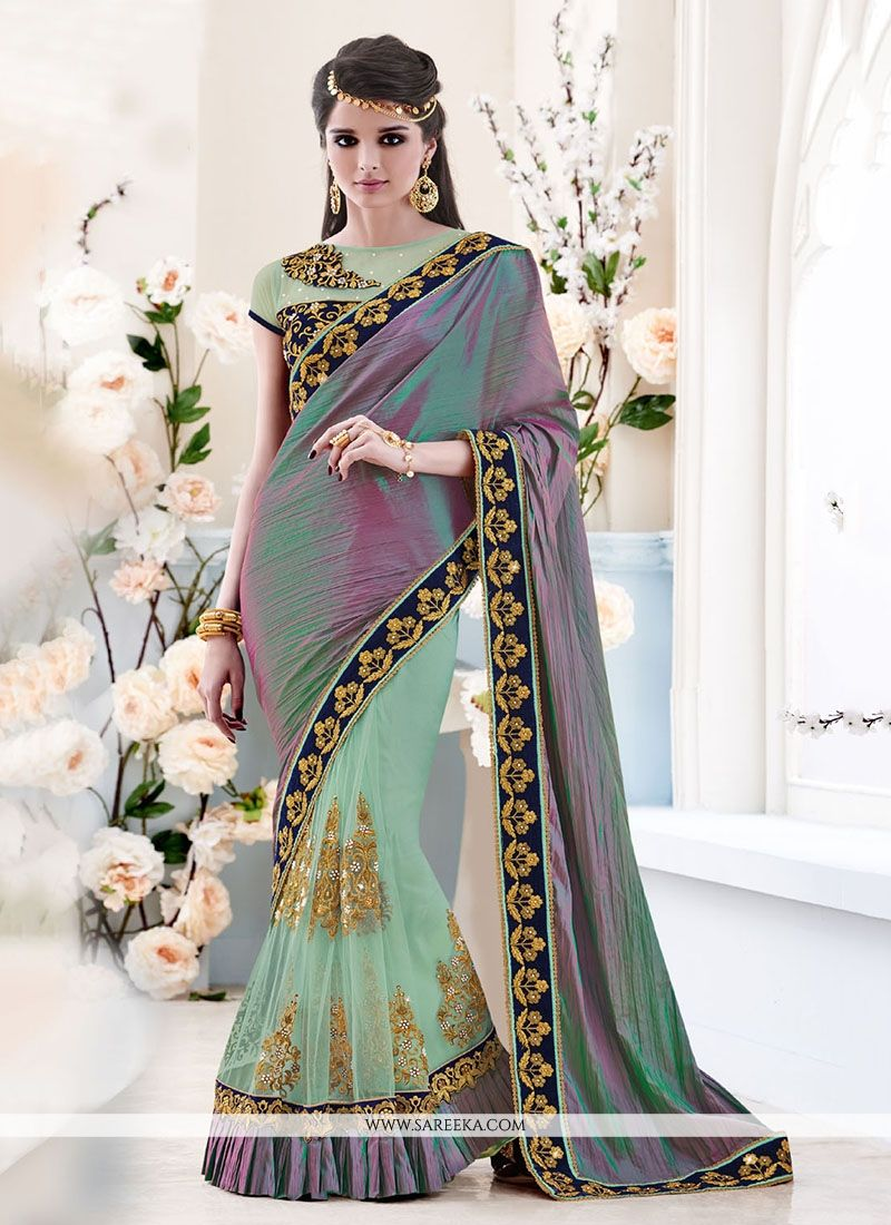 Patch Border Work Art Dupion Silk Classic Designer Saree