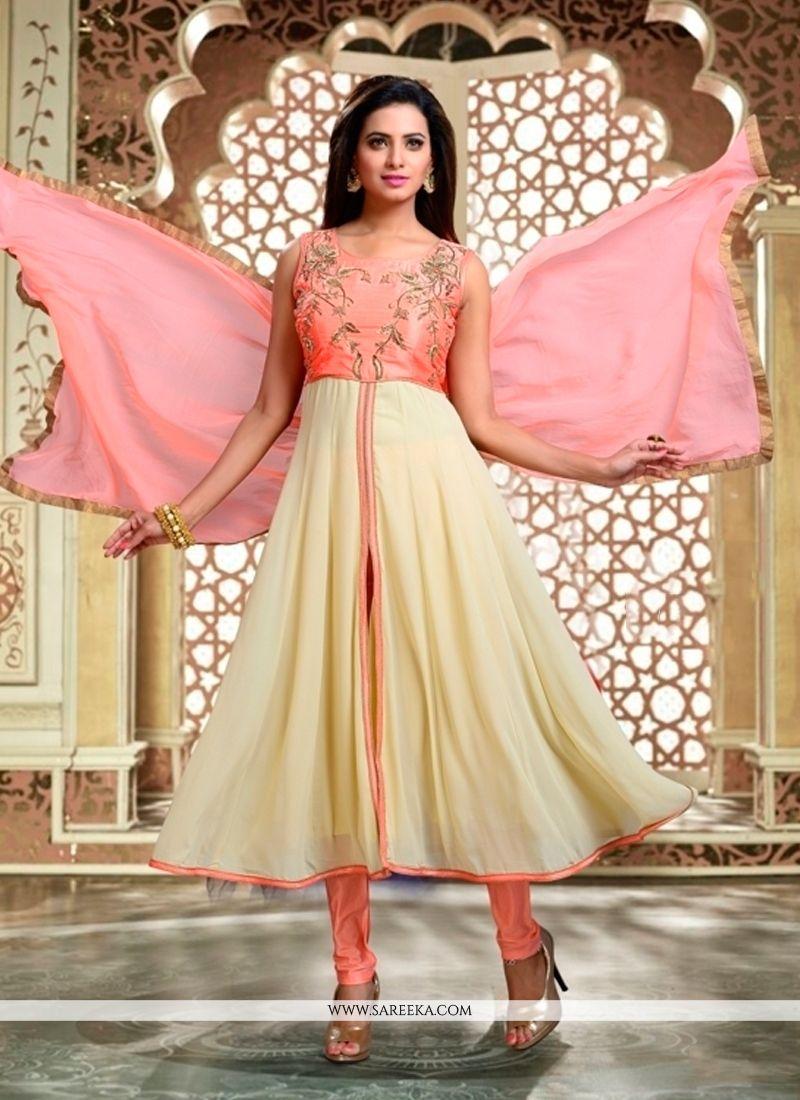 8921717820 Buy Cream Georgette Readymade Anarkali Salwar Suit Online : Malaysia -