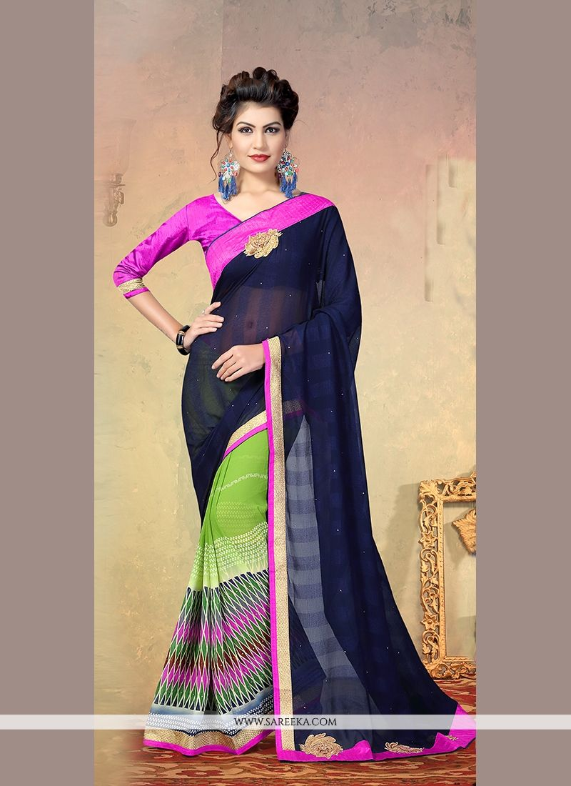 Faux Chiffon Multi Colour Patch Border Work Designer Half N Half saree