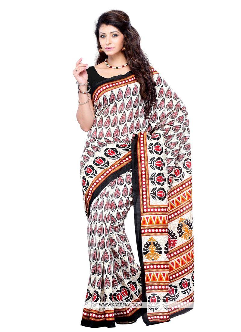 Print Work Art Silk Casual Saree