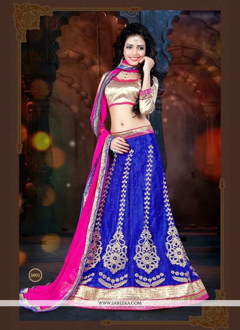 Blue Embroidered Work Net A Line Lehenga Choli