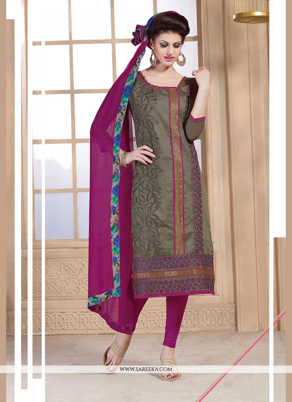 Beige and Magenta Embroidered Work Chanderi Churidar Designer Suit