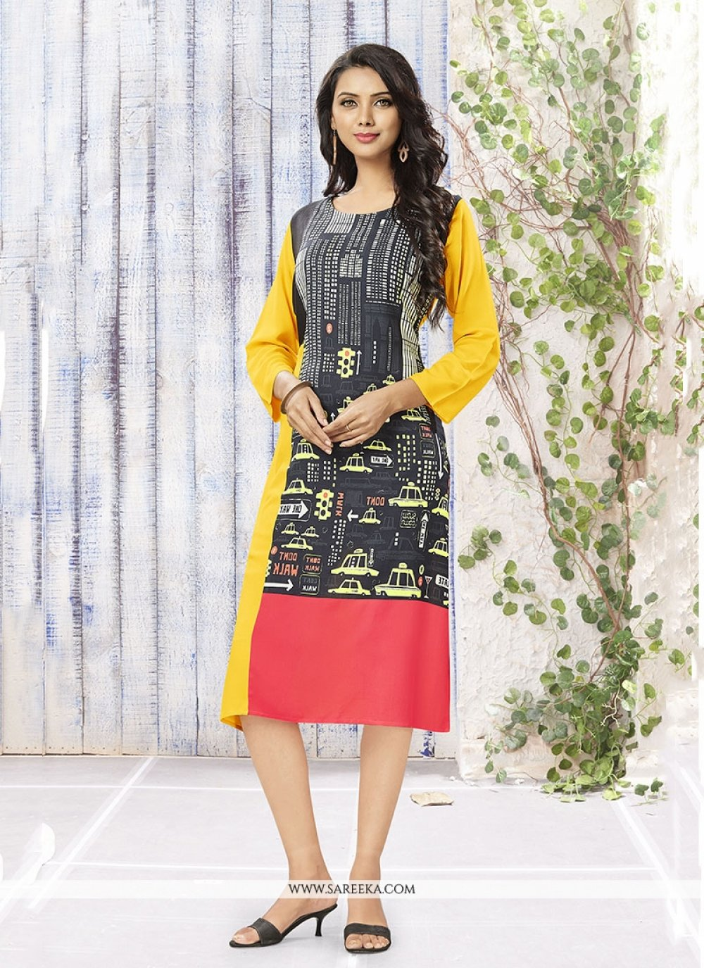 Beige and Multi Colour Party Wear Kurti