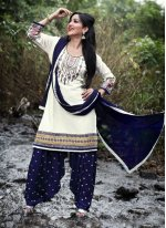 Off White Embroidered Work Punjabi Suit