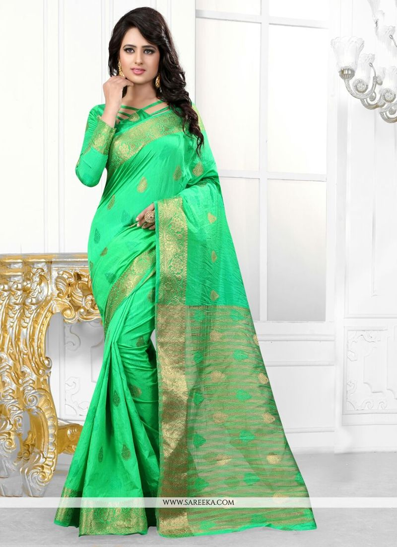 2178caf7373bb1 Sea Green Patch Border Work Banarasi Silk Designer Saree -