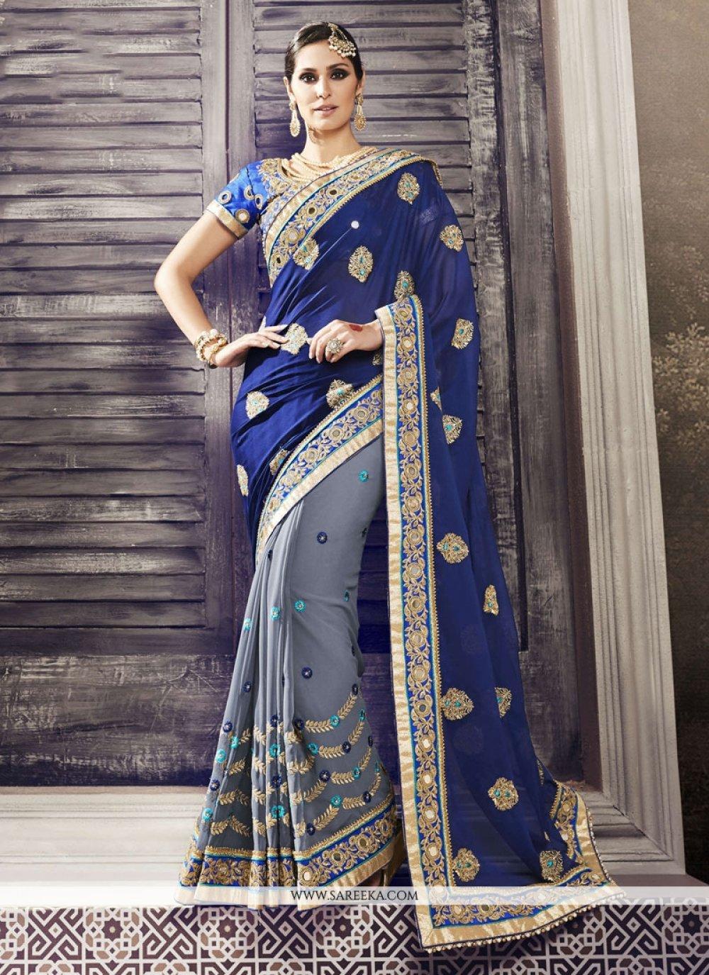 Blue and Grey Patch Border Work Half N Half Designer Saree