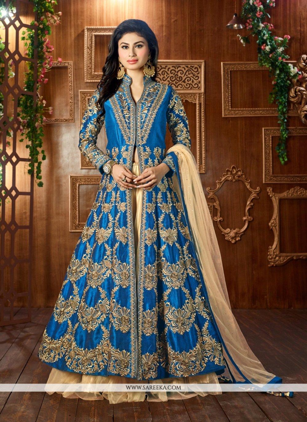 Resham Work Turquoise Tafeta silk Lehenga Choli
