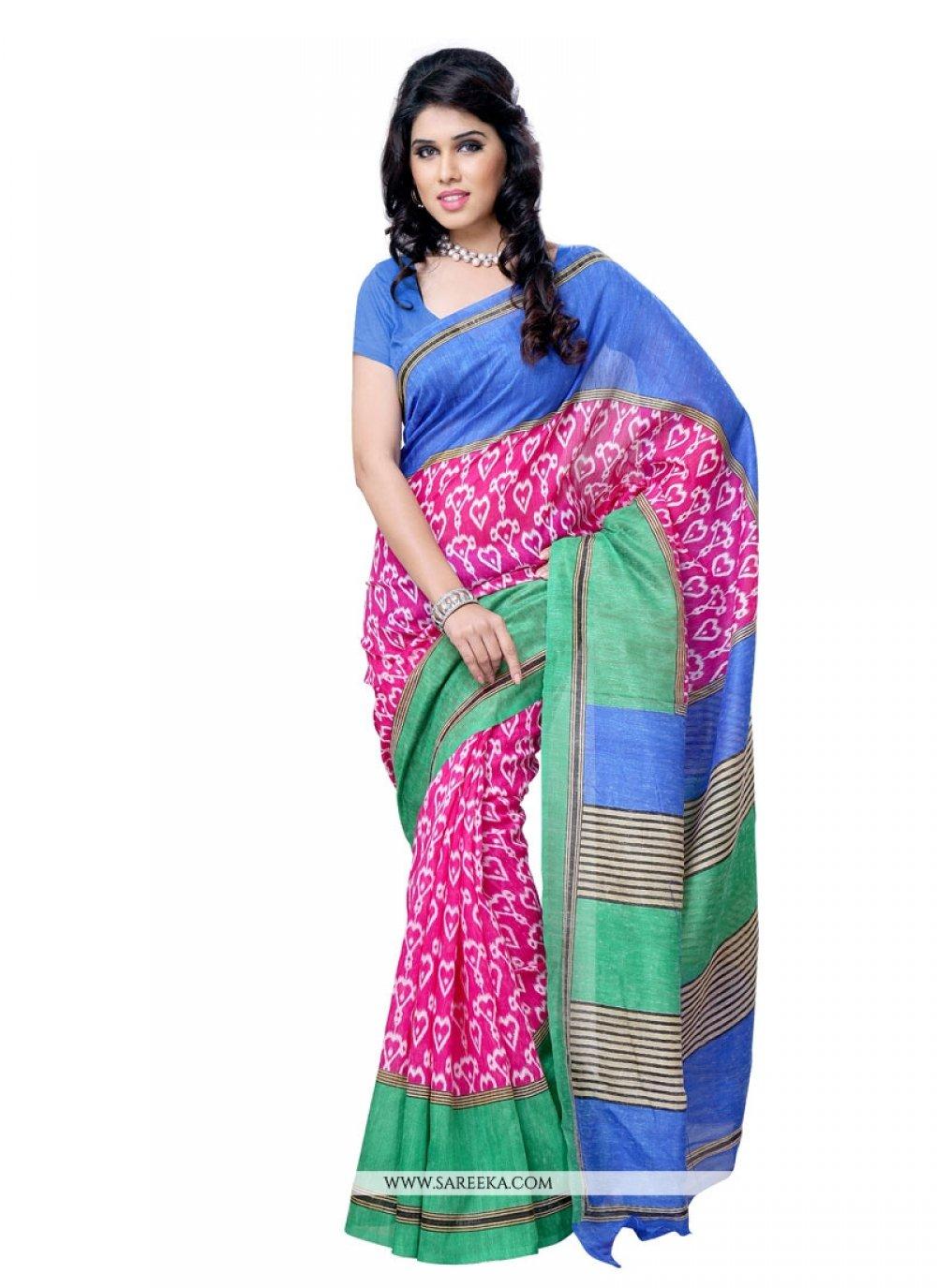 Art Silk Print Work Casual Saree
