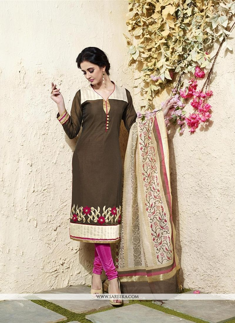 Chanderi Cotton Brown Readymade Suit