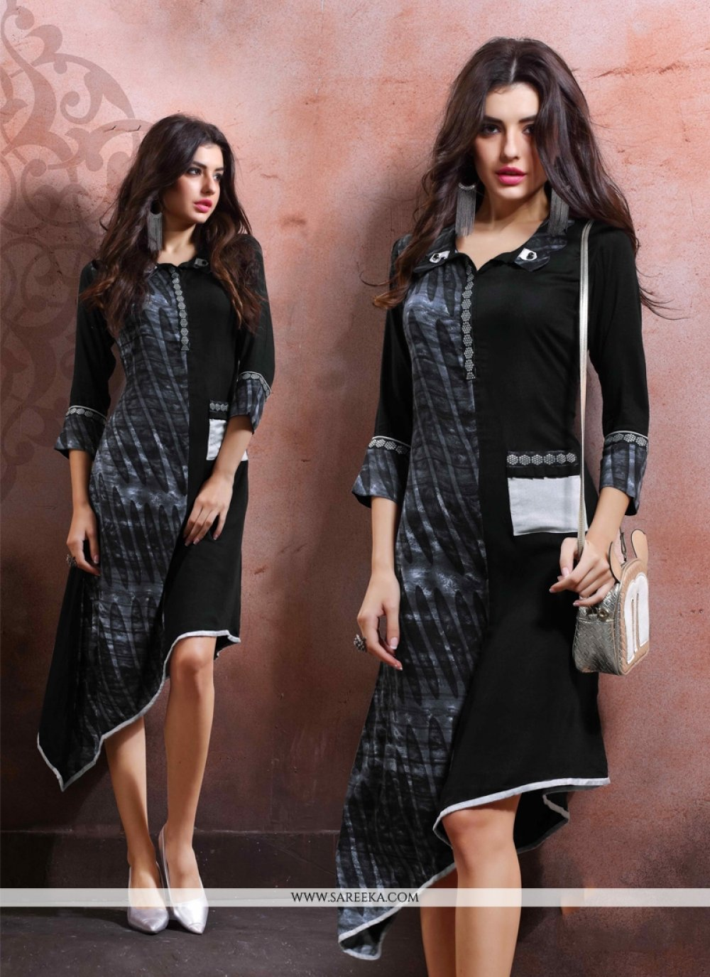 Cotton   Black Party Wear Kurti