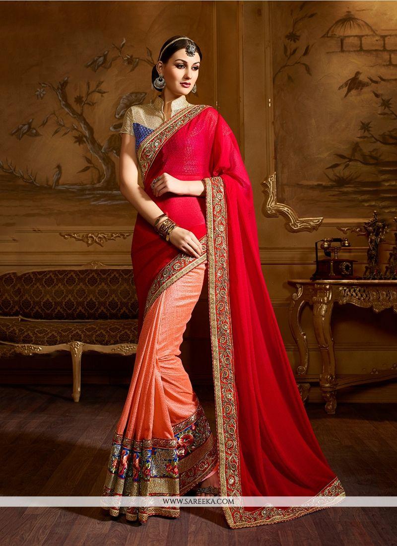 Georgette Red Classic Designer Saree
