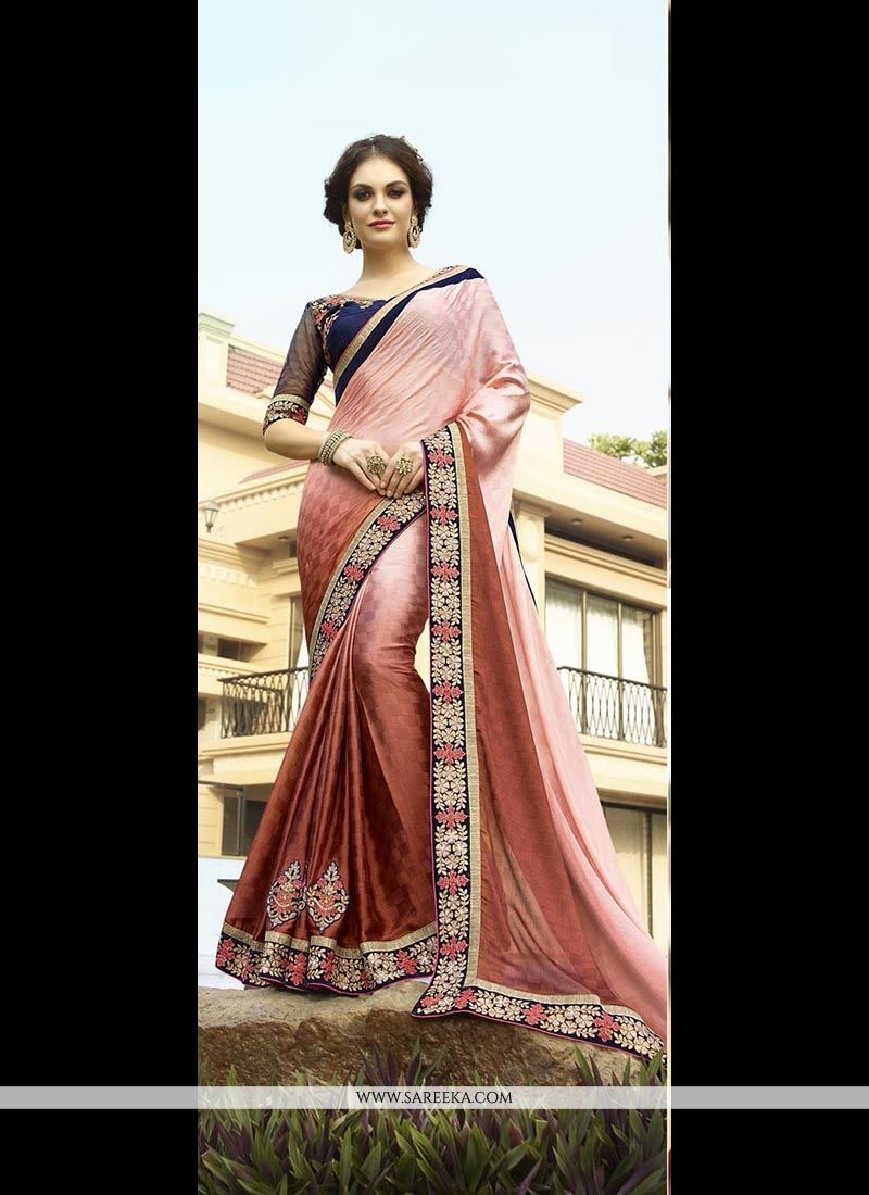 Jacquard Pink Embroidered Work Classic Designer Saree