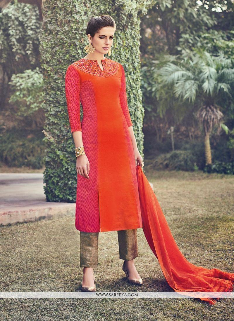 ed14249f0625 Silk Orange Churidar Designer Suit -