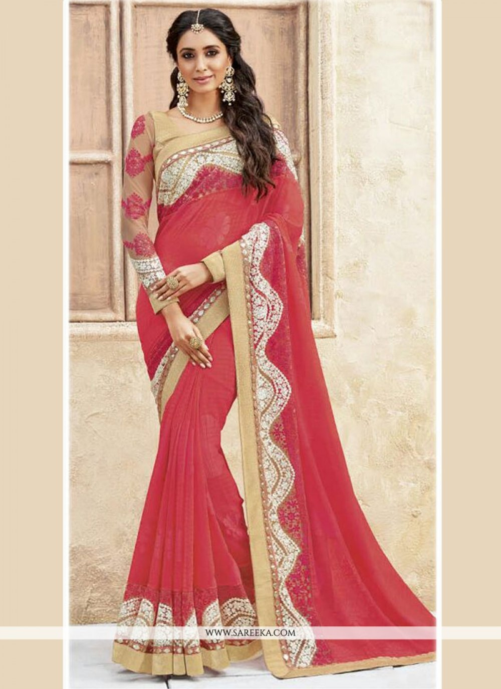 Georgette Embroidered Work Traditional Designer Sarees