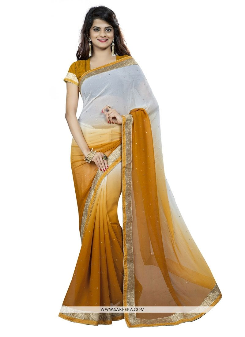 Mustard Patch Border Work Casual Saree