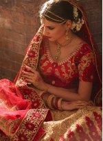 Raw Silk Red and Beige Resham Work A Line Lehenga Choli