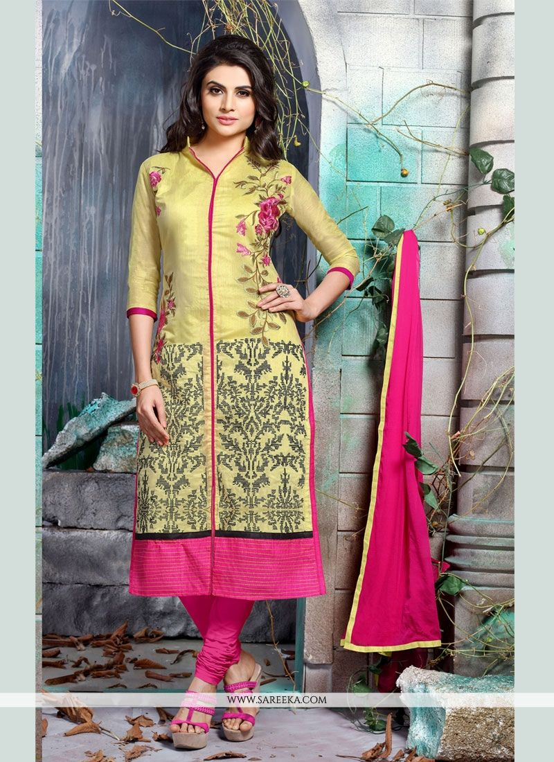Embroidered Work Yellow Churidar Designer Suit