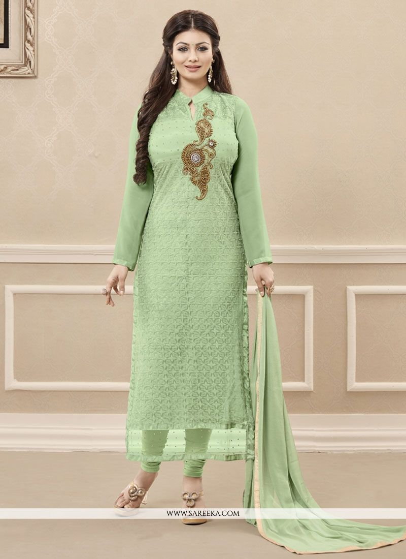 Sea Green Resham Work Designer Straight Salwar Kameez