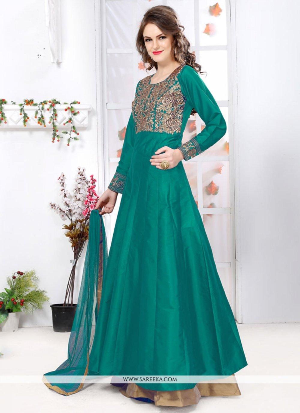 Sea Green Tafeta silk Designer Floor Length Suit
