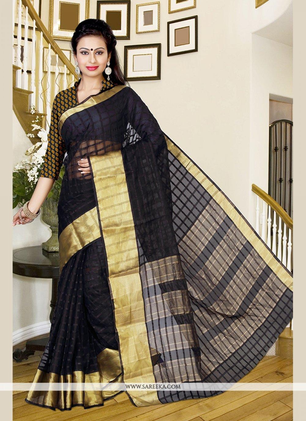 Silk Patch Border Work Designer Saree