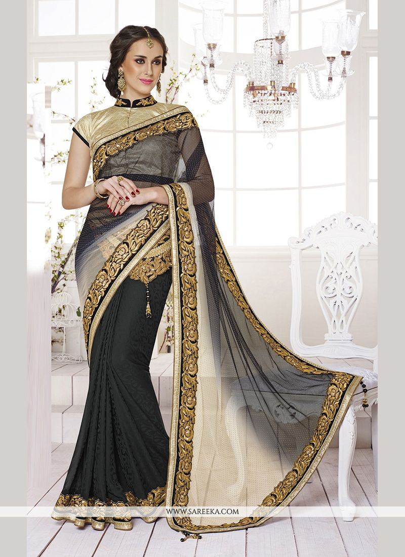 Black Embroidered Work Net Classic Designer Saree