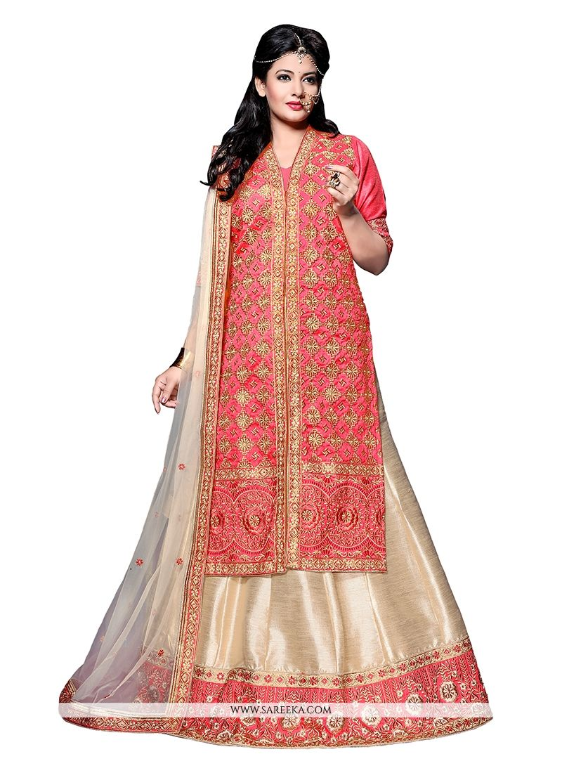 Cream and Peach Patch Border Work A Line Lehenga Choli