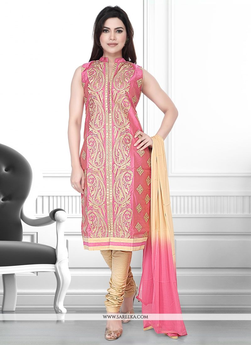 8e6dc8aaa Buy Peach Embroidered Work Art Silk Churidar Designer Suit Online   Indian  Ethnic Wear -