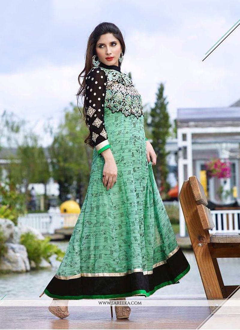Sea Green Georgette Anarkali Salwar Kameez