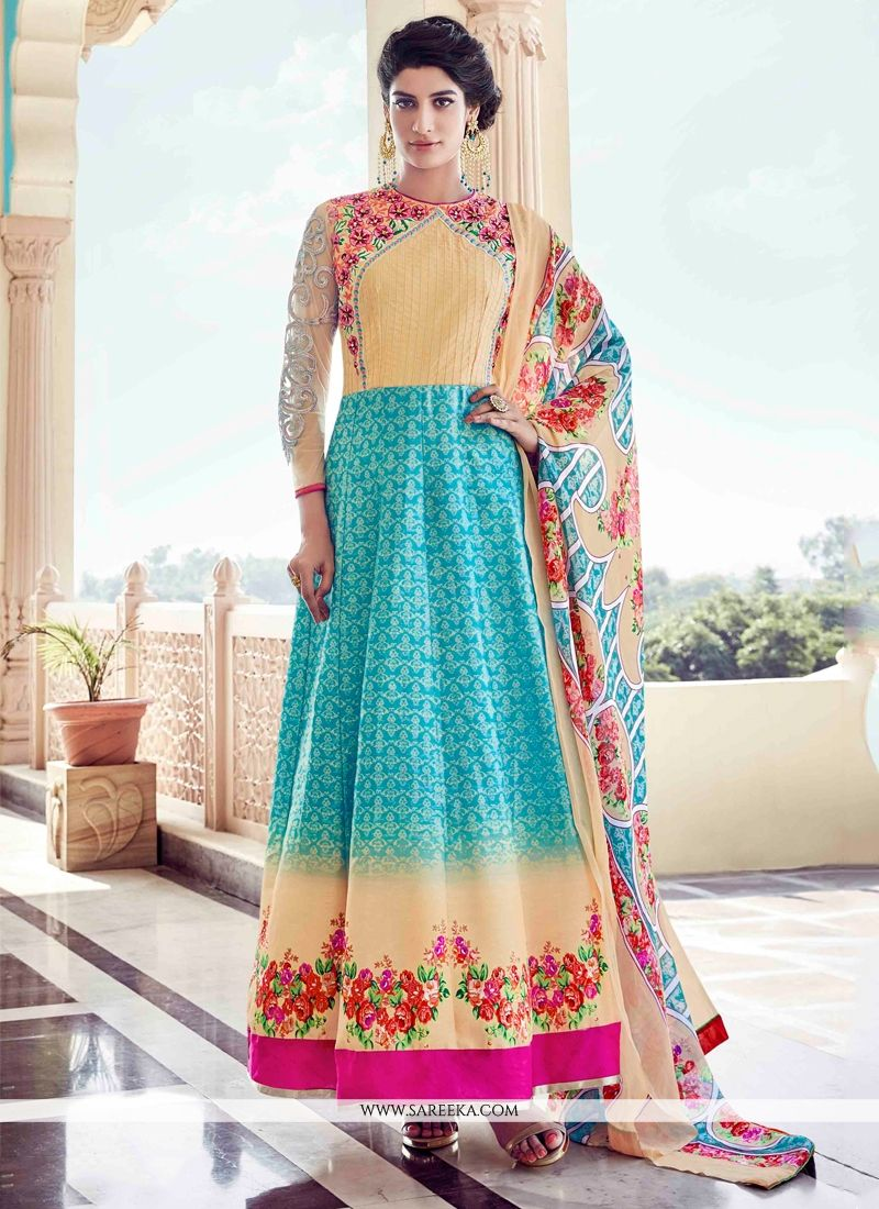 f3d8b92603 Buy Turquoise and Yellow Banglori Silk Anarkali Salwar Kameez Online : UK,  USA, Canada, Australia -