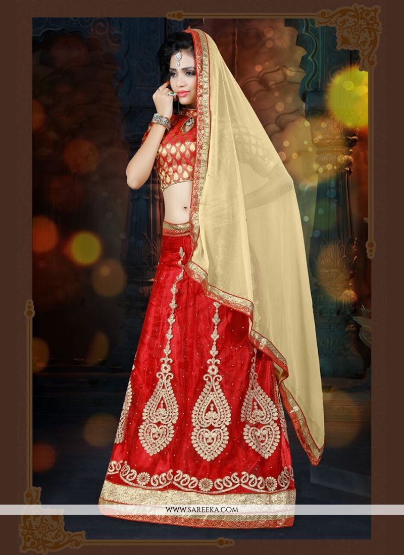 Patch Border Work Red A Line Lehenga Choli