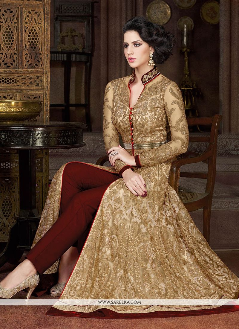 Buy Deserving Embroidered Work Beige Pant Style Suit Online ...