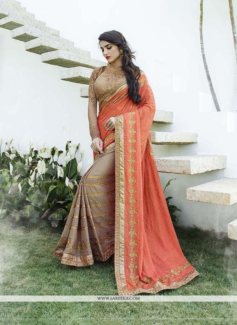 Orange Classic Designer Saree