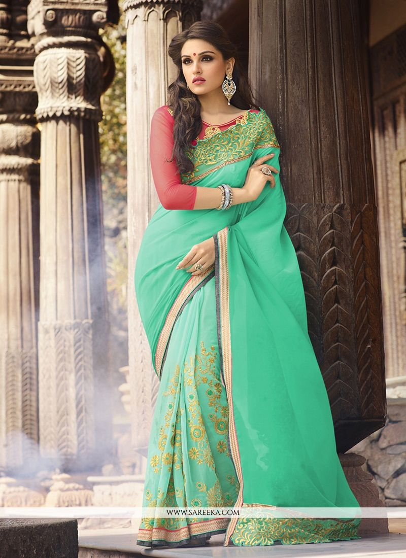 Patch Border Work Georgette Classic Designer Saree