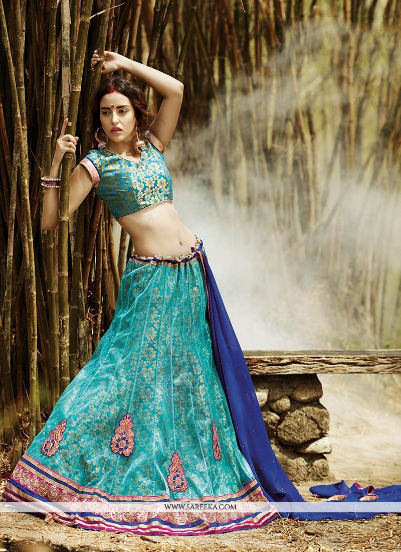 Sea Green Net A Line Lehenga Choli