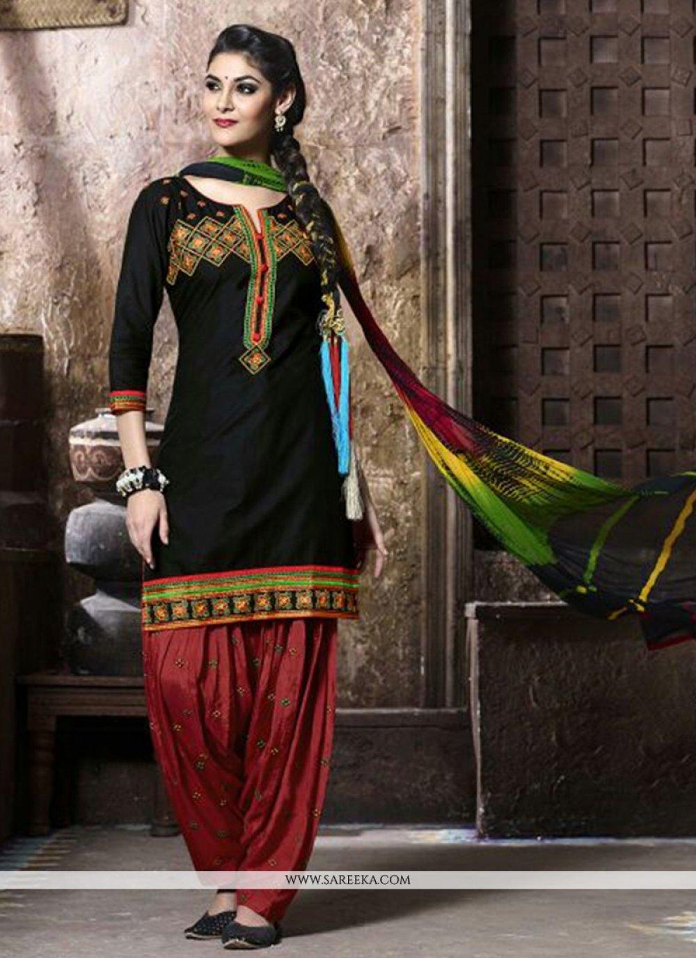 Black Resham Work Cotton   Punjabi Suit