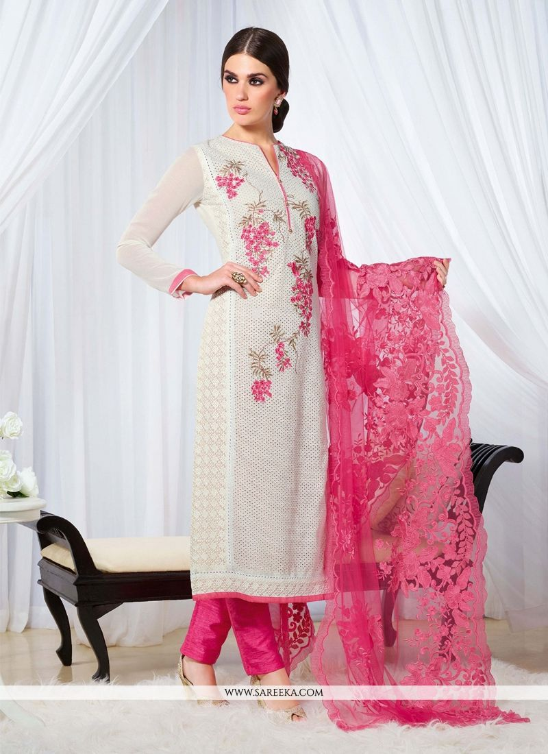 Buy Embroidered Work Off White Designer Straight Salwar Kameez