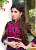 Georgette Wine Embroidered Work Anarkali Salwar Kameez