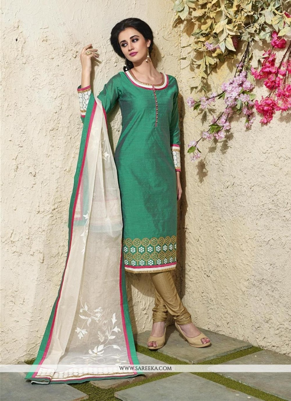 Lace Work Sea Green Readymade Suit