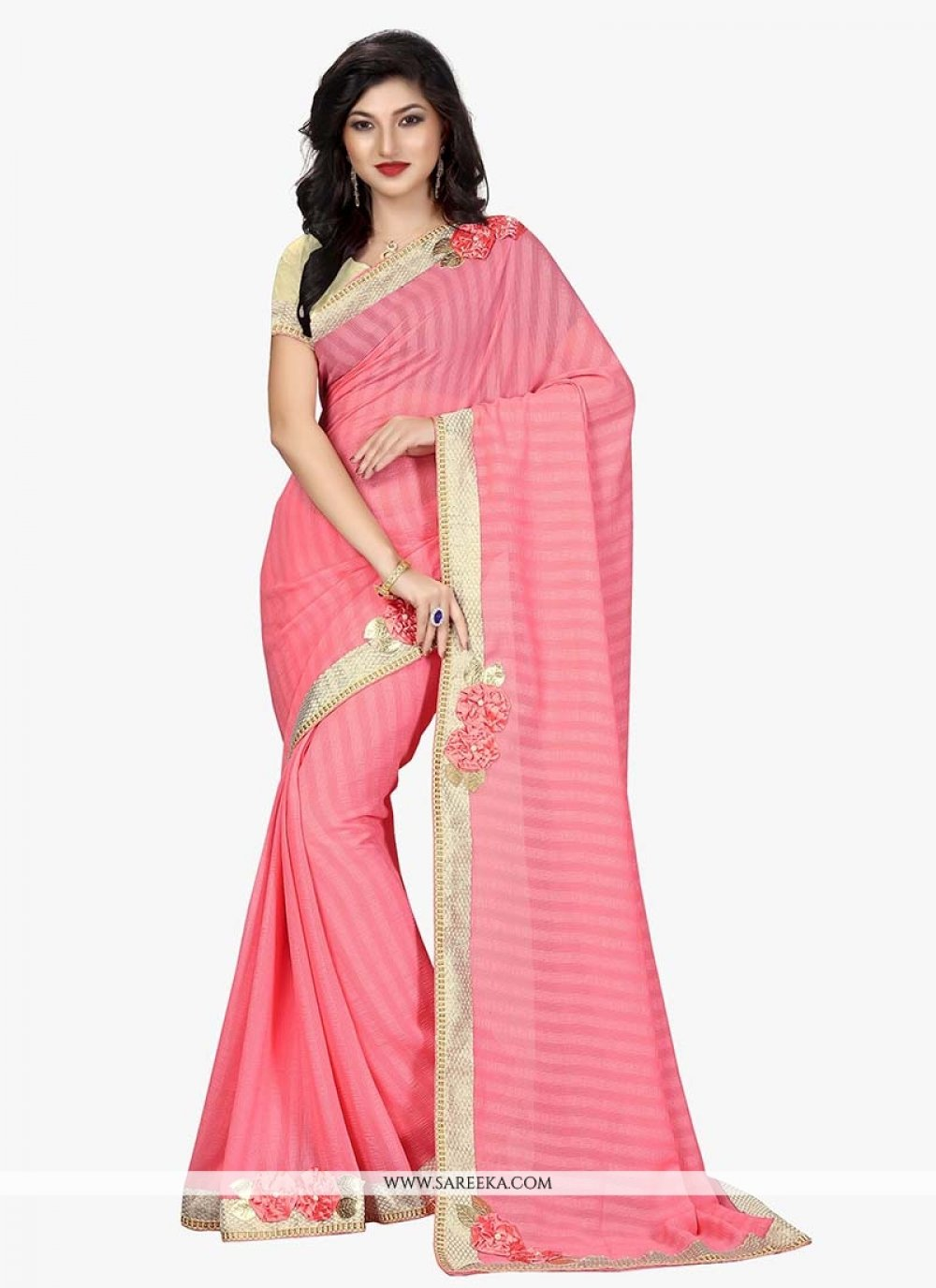 Pink Embroidered Work Classic Designer Saree