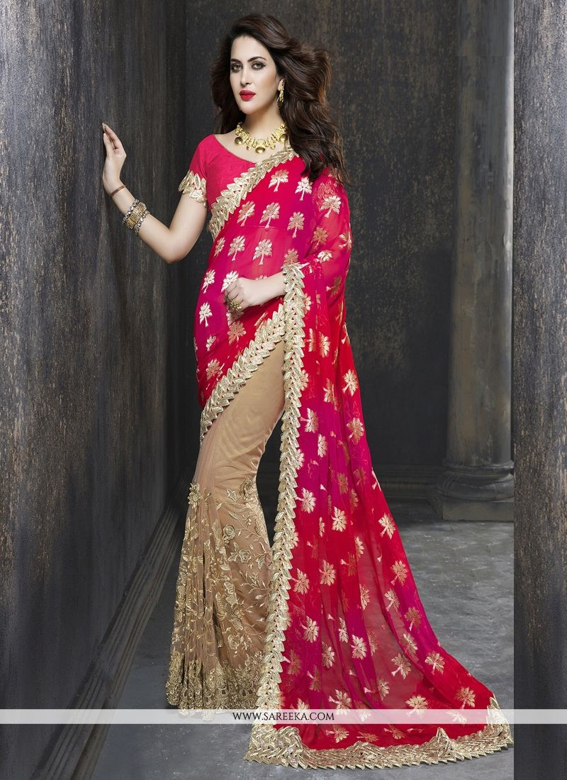 Beige Embroidered Work Art Silk Classic Designer Saree