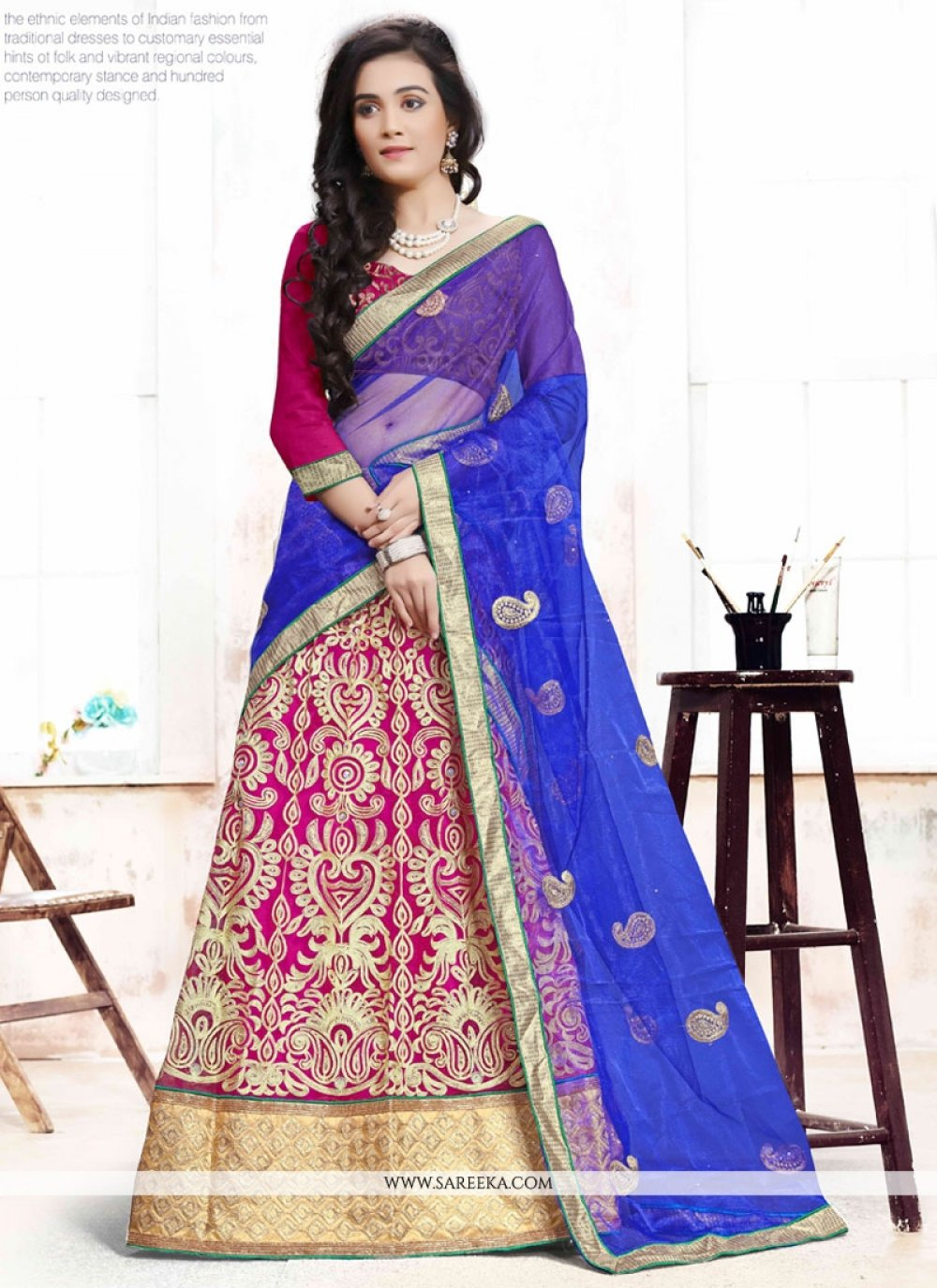 Embroidered Work Blue and Hot Pink A Line Lehenga Choli
