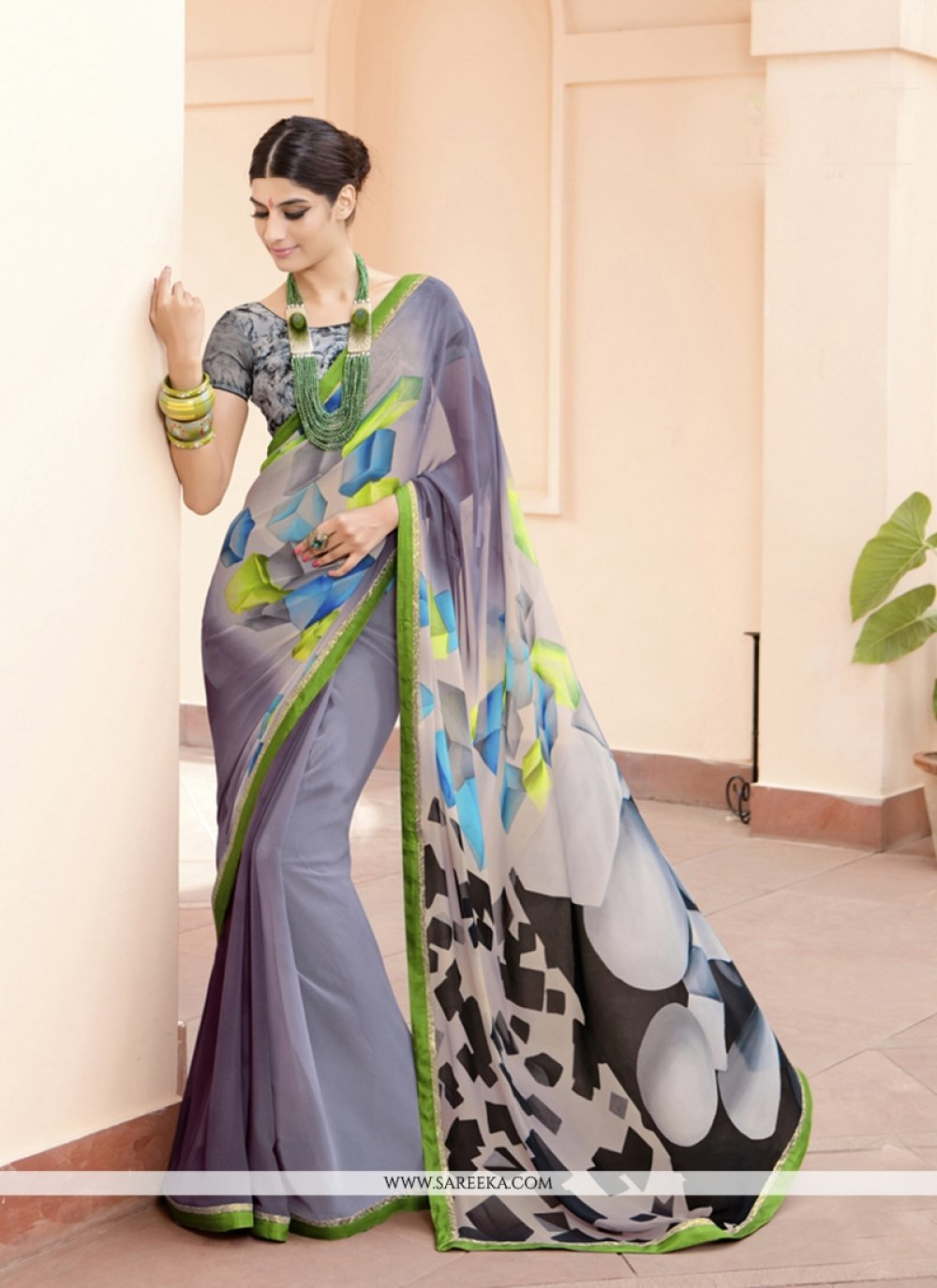 Georgette Multi Colour Print Work Printed Saree