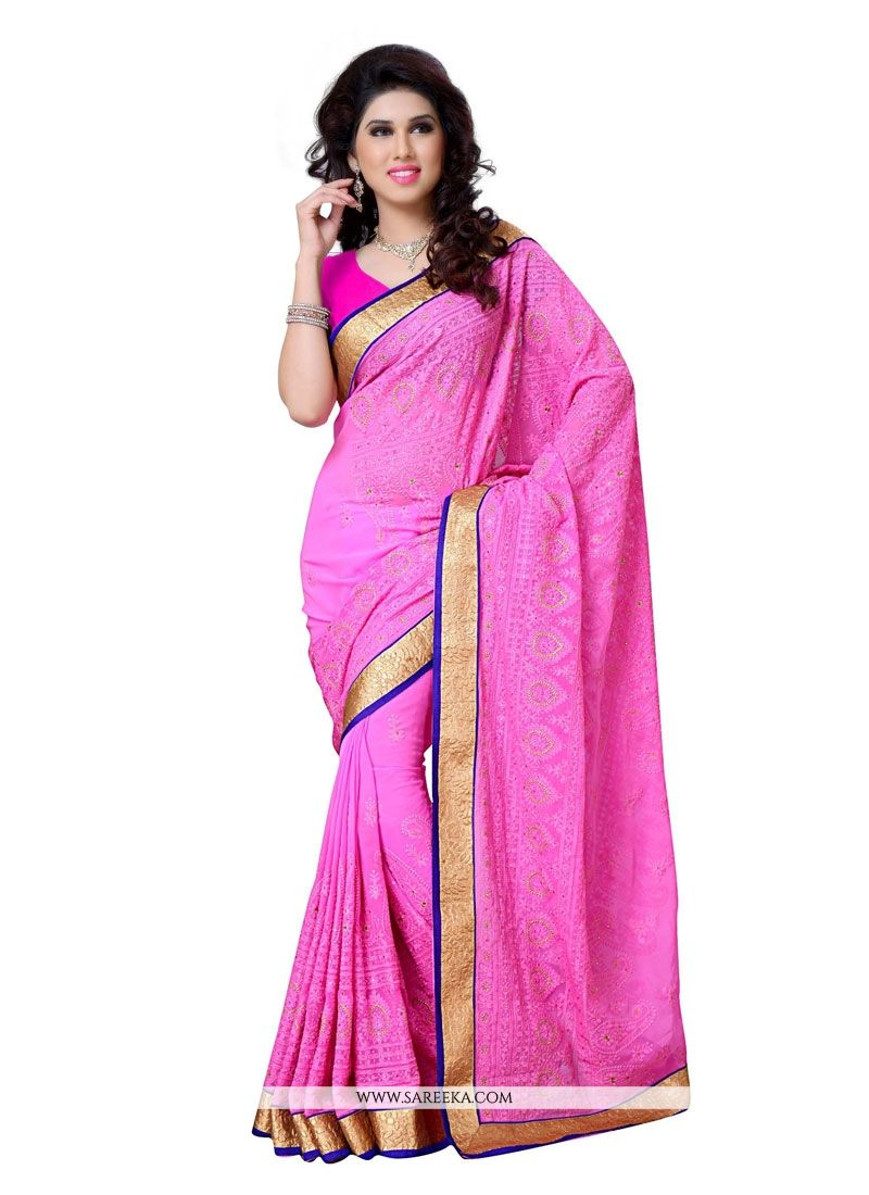 Hot Pink Embroidered Work Georgette Designer Saree