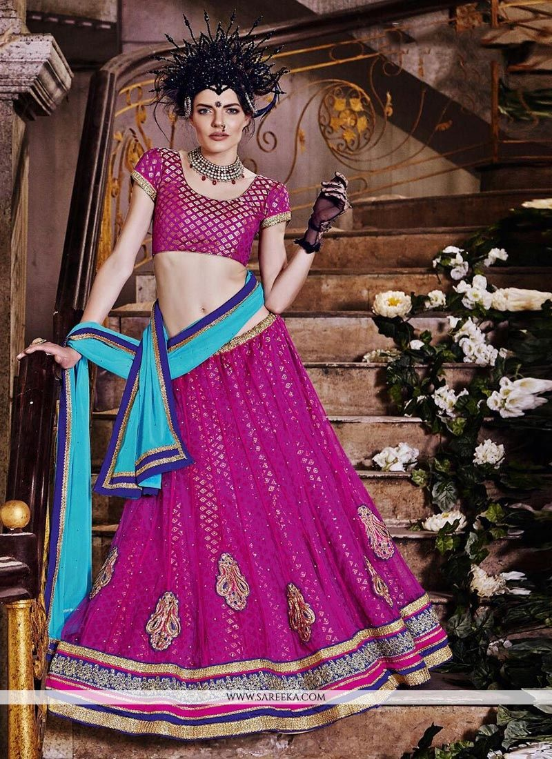 Magenta Embroidered Work Net A Line Lehenga Choli