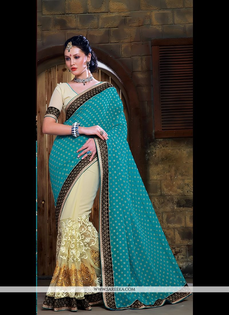 Patch Border Work Cream Georgette Designer Saree