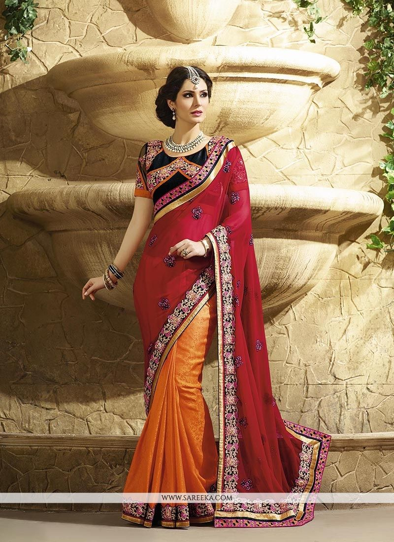 Georgette Red Patch Border Work Classic Designer Saree