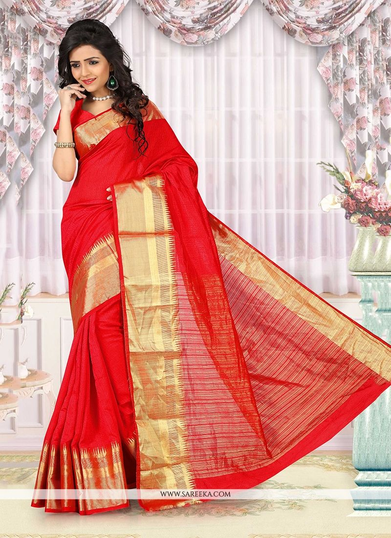 Red Patch Border Work Cotton   Casual Saree